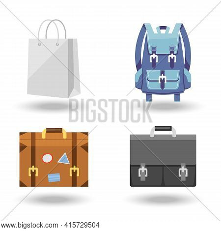 Set Of Four Baggage Vector Illustrations With A White Paper Carrier Or Shopping Bag  Suitcase With L