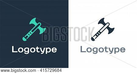 Logotype War Axe Icon Isolated On White Background. Battle Axe, Executioner Axe. Medieval Weapon. Lo