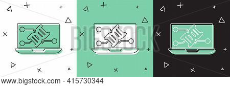 Set Genetic Engineering Modification On Laptop Icon Isolated On White And Green, Black Background. D