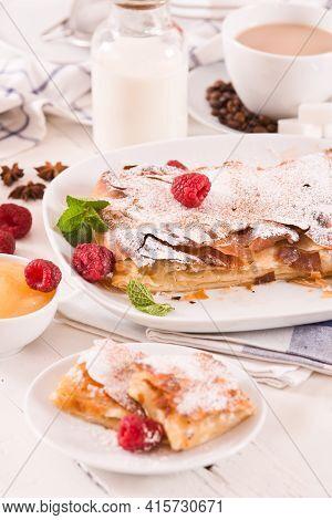 Bougatsa - Greek Puff Pastry With Cream.