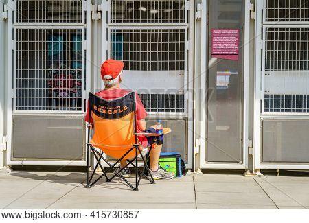 Cincinnati, Ohio, August 29, 2020: A man watches baseball game on a TV screen outside of Cincinnati Reds stadium during Covid 19 pandemic