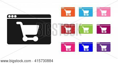 Black Online Shopping On Screen Icon Isolated On White Background. Concept E-commerce, E-business, O