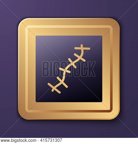 Purple Scar With Suture Icon Isolated On Purple Background. Gold Square Button. Vector