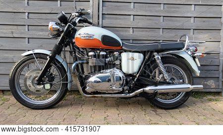 Bordeaux , Aquitaine France - 03 29 2021 : Triumph Bonneville T100 Bonnie 50 Th Anniversary Motorcyc