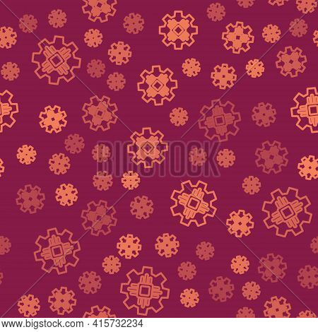 Brown Line Processor Icon Isolated Seamless Pattern On Red Background. Cpu, Central Processing Unit,