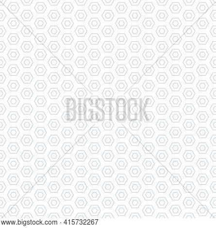 Abstract Seamless Geometric Hexagons Pattern And Texture. White Textured Background. Vector Art.