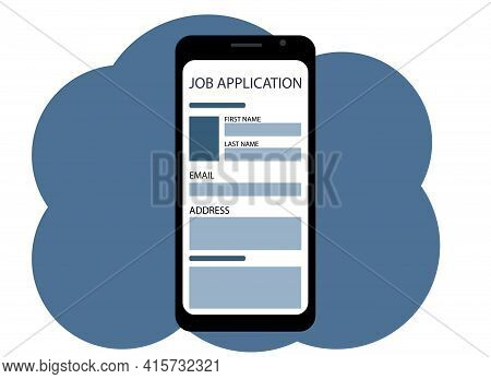 Vector Drawing Of A Mobile Phone. On The Screen Is A Site About Job Search And Posting Job Applicati