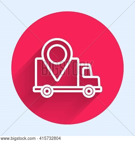 White Line Delivery Tracking Icon Isolated With Long Shadow. Parcel Tracking. Red Circle Button. Vec