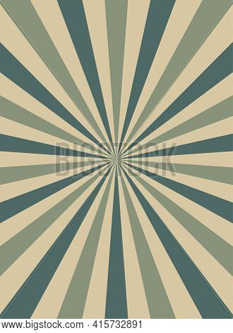 Sunlight Narrow Retro Faded Grunge Background. Dirty Beige And Green Color Burst Background. Vector