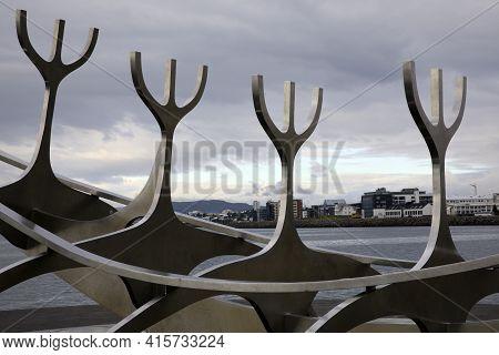 Reykjavik / Iceland - August 15, 2017: The Solfar (sun Voyager) Sculpture, Reykjavik, Iceland, Europ
