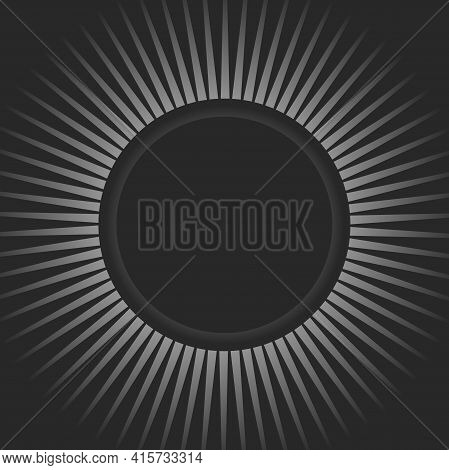 Sunlight Retro Background With Round Frame For Text. Black And Grey Color Burst Background. Fantasy