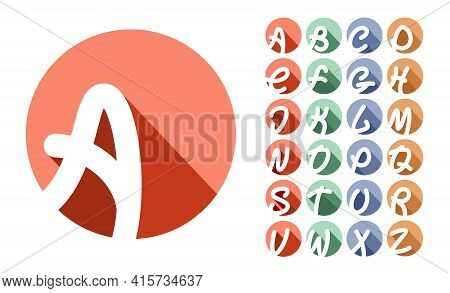 Decorative Font, Alphabet. Creative Capital Letters Inscribed In A Circle With Falling Shadows. For