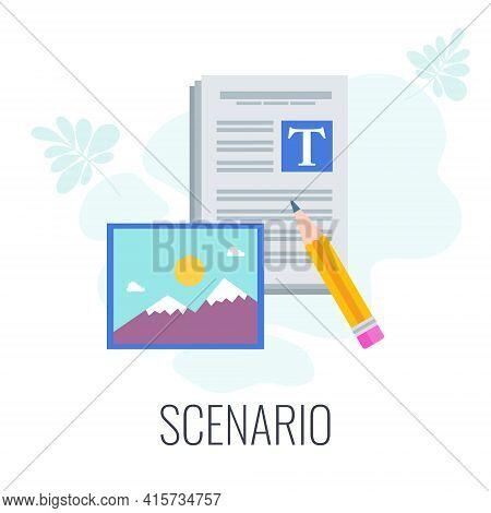 Scenario Icon. Video Marketing. Digital Marketing. Flat Vector Illustration.