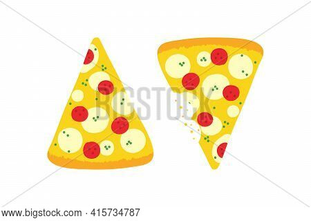 Couple Of Vector Cartoon Style Pizza Slices With Pepperoni And Mozzarella, Whole And With Bite Marks