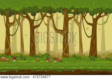 Cartoon Forest Landscape, Endless Vector Nature Background For Computer Games. Nature Tree, Outdoor