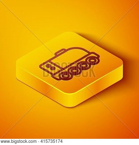 Isometric Line Mars Rover Icon Isolated On Orange Background. Space Rover. Moonwalker Sign. Apparatu