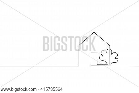 One Line Seller House Door Keys. Building Quarter Residential Complex. Hand Drawn Sketch Continuous