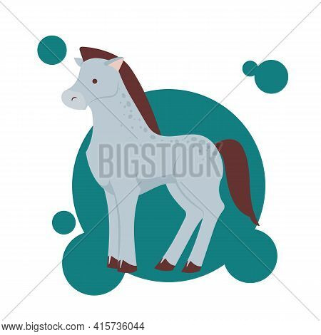 Funny Grey Spotted Cute Horse Character Standing, Cartoon Vector Illustration. Horse Character Drawi