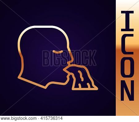 Gold Line Vomiting Man Icon Isolated On Black Background. Symptom Of Disease, Problem With Health. N