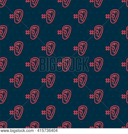 Red Line Deafness Icon Isolated Seamless Pattern On Black Background. Deaf Symbol. Hearing Impairmen