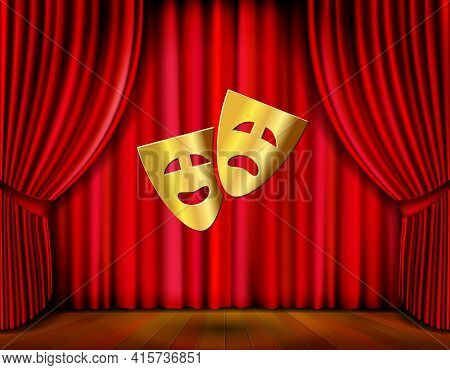 Theater Stage With Golden Masks And Red Curtain Vector Illustration