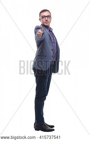 Handsome young man in formalwear pointing you