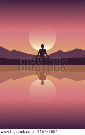 Peace Of Mind Mediating Person By The Lake