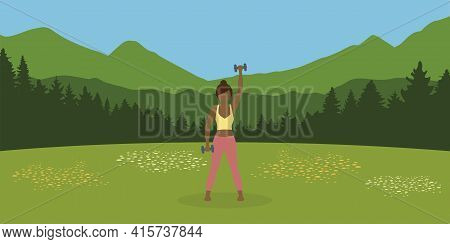 Sporty Girl Does Outdoor Sport With Dumbbells On A Summer Meadow