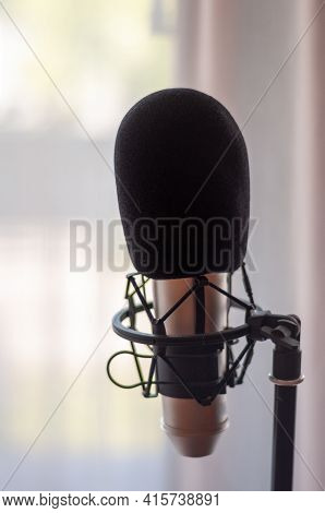 Close Up Of Microphone In Studio Room, Blur Background