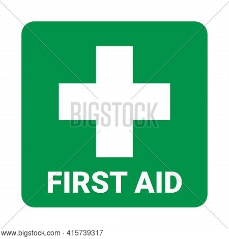 First Aid Icon Symbol. Vector Green Cross Safety Medic Treatment Ambulance First Aid Help