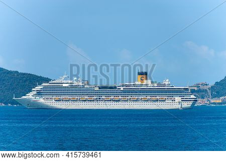 La Spezia, Italy - July 22, 2020: Costa Pacifica Cruise Ship Moored In The Harbour Of The Gulf Of La