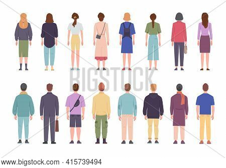 Men And Women In Different Clothes Standing With Their Backs Set. Coming To Work With Briefcases And