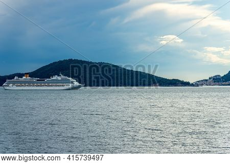 La Spezia, Italy - July 24, 2020: Costa Pacifica Cruise Ship Moored In The Harbor Of The Gulf Of La