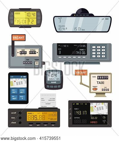Modern And Retro Taximeters Set. Accurate Navigation And Payment Counters With Yellow Screen Number