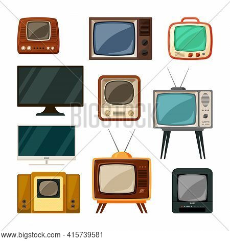 Modern And Tube Retro Televisions Set. Plasma Smart Gadgets And Vintage Brown Tv With Small Screen O