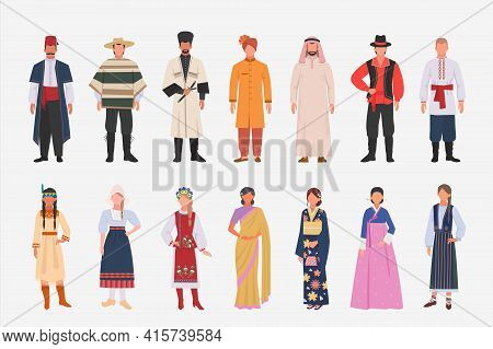 Different People Nationalities In Ethnic Clothes Set. Mexican In Poncho Hindu In Turban Male And Fem