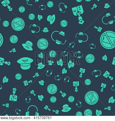 Set Headphones With Microphone, Pilot, Pilot Hat And No Cell Phone On Seamless Pattern. Vector