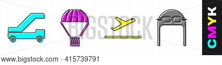 Set Passenger Ladder For Plane Boarding, Box Flying On Parachute, Plane Takeoff And Aviator Hat With