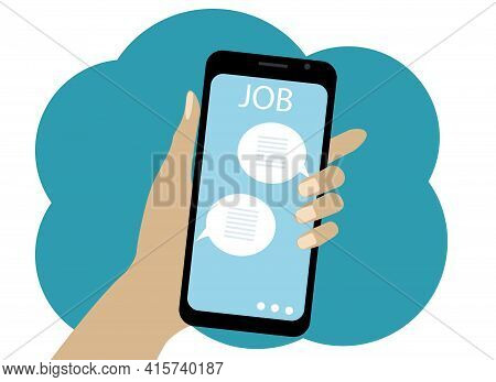 Vector Drawing Of A Mobile Phone. On The Screen Is A Site About Job Search And Posting Vacancies And