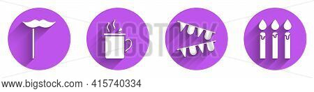 Set Paper Mustache On Stick, Mulled Wine, Carnival Garland With Flags And Birthday Cake Candles Icon