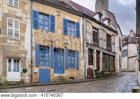 Street With Historical Houses In Semur-en-auxois,, Yonne, France