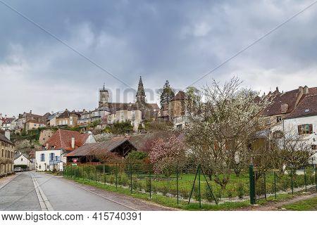 View Of Semur-en-auxois With Church Notre-dame, France