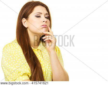 Happy Woman Thinking Wondering