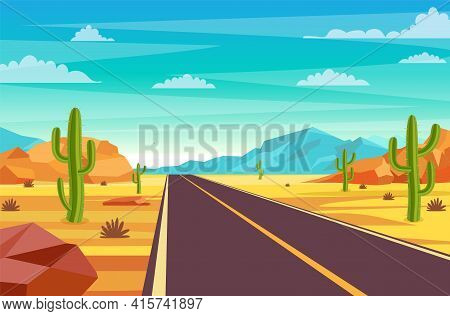 Empty Highway Road In Desert. Sandy Desert Landscape With Road, Rocks And Cactuses. Summer Western A
