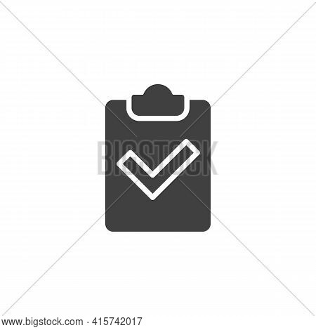Checklist Checkmark Vector Icon. Filled Flat Sign For Mobile Concept And Web Design. Paper Clipboard