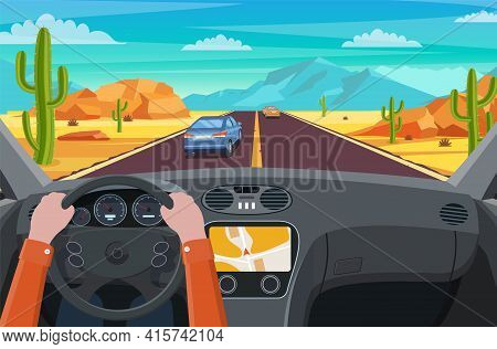 View Of The Road From The Car Interior. Highway Road In Desert. Sandy Desert Landscape With Road, Ro