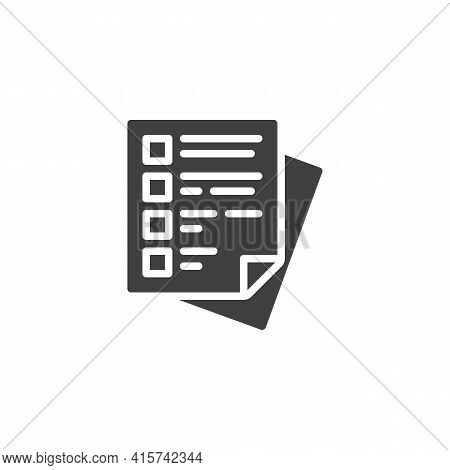 Questionnaire Checklist Vector Icon. Filled Flat Sign For Mobile Concept And Web Design. Questionnai