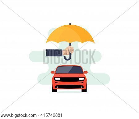 Car Insurance Vector Logo Concept Protect Icon. Car Insurance Policy Umbrella Cover Care Illustratio
