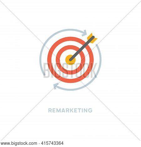 Remarketing Website Funnel Icon. Retargeting Bullseye Arrow Dart Business Goal Concept