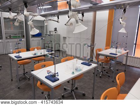 Chemistry Class At School. An Empty, Clean Laboratory In A University College Science Classroom.